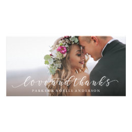 Flowing Love and Thanks Wedding Photo Card