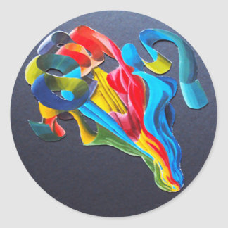 Flowing Rainbow Ribbons Classic Round Sticker