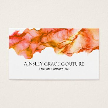 Professional Business Flowing Red Yellow Coral Pink Silk Business Card