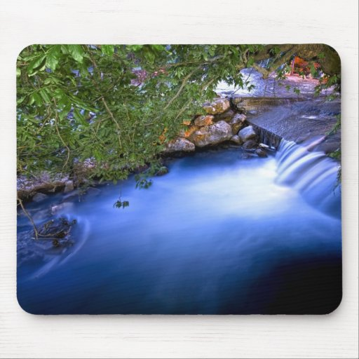 Flowing River Under Trees Mouse Pad
