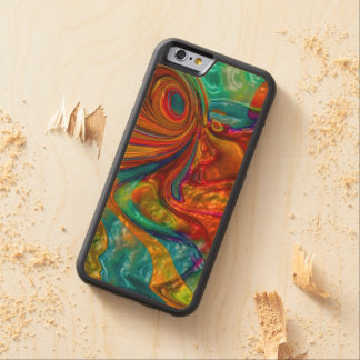 flowing swirling elegant abstract satin eye carved maple iPhone 6 bumper case