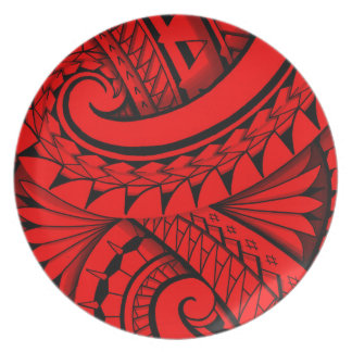 flowing swirly tribal tattoo design melamine plate