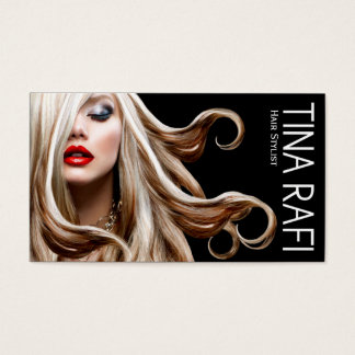 Flowing Tresses Hair Stylist blonde | black Business Card