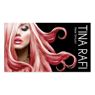 Flowing Tresses Hair Stylist pink hair black Business Card