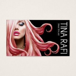 Flowing Tresses Hair Stylist pink hair | black Business Card