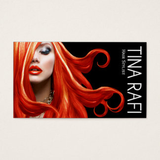 Flowing Tresses Hair Stylist redhead | black Business Card
