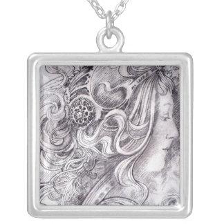 Flowing Tresses Square Pendant Necklace