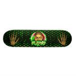 Floyd skull green fire Skatersollie skateboard.