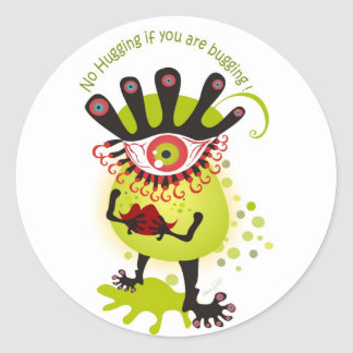 Flu Bug Classic Round Sticker