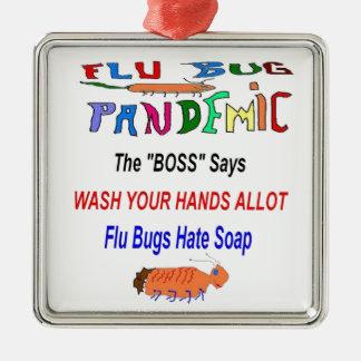 Flu Bug Hates Soap Christmas Tree Ornaments