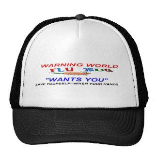 Flu Bug World warning Trucker Hats
