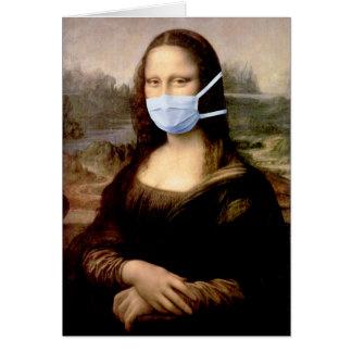Flu Season Mona Lisa with Mask Greeting Cards