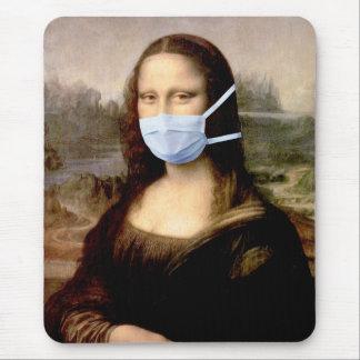 Flu Season Mona Lisa with Mask Mouse Pads