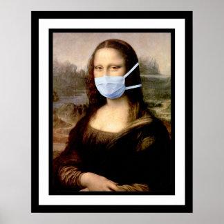 Flu Season Mona Lisa with Mask Poster