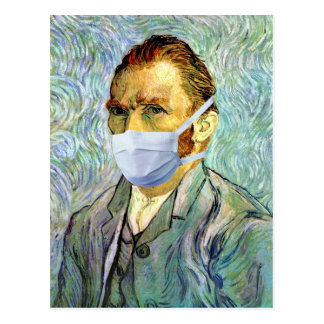Flu Season Van Gogh With Mask Post Cards