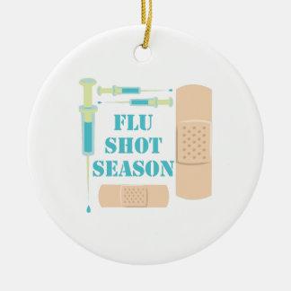 Flu Shot Round Ceramic Ornament