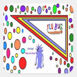 Flu Use Soap Square Stickers