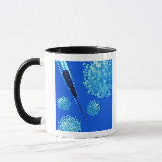 Flu vaccine, conceptual computer artwork. mug