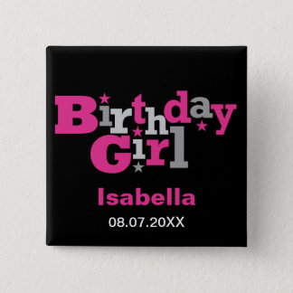 Fluctuating Type Birthday Girl Button