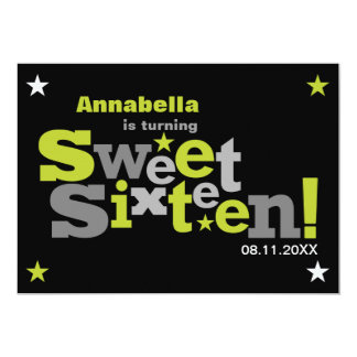 Fluctuating Type Sweet 16 Party Invitation