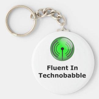 Fluent In Technobabble Basic Round Button Keychain