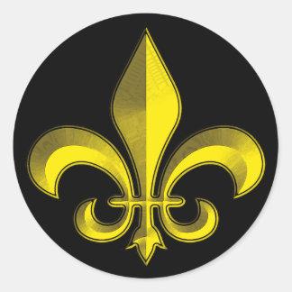 Fluer De Art Bevel Gold Fresco Classic Round Sticker