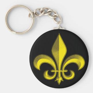 Fluer De Art Bevel Gold Fresco Key Chains