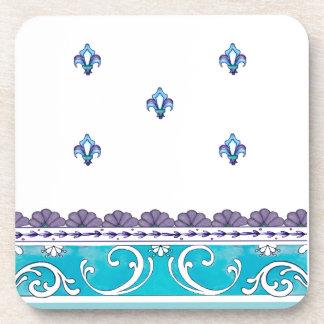 Fluer De Lis Blue Swirl Design Drink Coasters