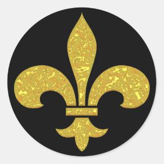FLUER DE LIS FORMAL GOLD CLASSIC ROUND STICKER