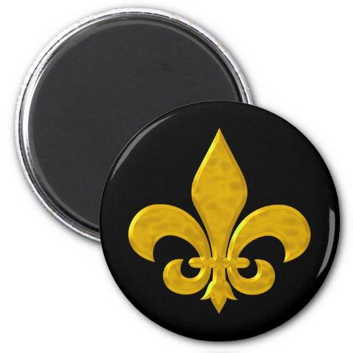 Fluer De Lis Hammered Gold 2 Inch Round Magnet