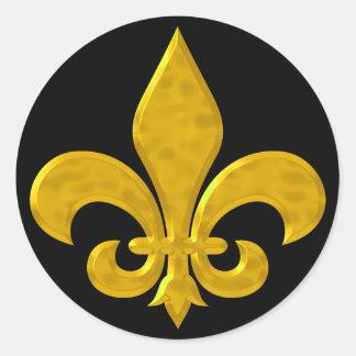 Fluer De Lis Hammered Gold Classic Round Sticker