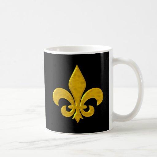Fluer De Lis Hammered Gold Coffee Mugs