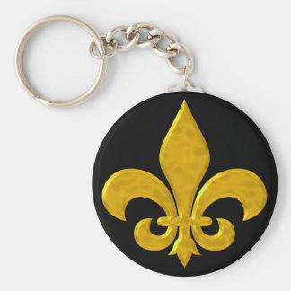 Fluer De Lis Hammered Gold Key Chain
