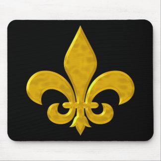 Fluer De Lis Hammered Gold Mouse Pad