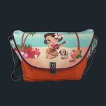 "Fluff Hula Lulu Messenger Bag<br><div class=""desc"">Hula Lulu,  the cutest little hula girl,  lives on her magical island paradise! Inspired by vintage hula graphics. Original artwork by Claudette Barjoud for Fluff!</div>"