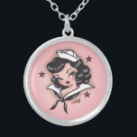 """Fluff Suzy Sailor Necklace<br><div class=""""desc"""">Suzy Sailor! A cute little sailor girl inspired by vintage tattoos and retro pinup girls with a nautical theme. Original artwork by Claudette Barjoud for Fluff!</div>"""