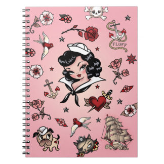 Fluff Suzy Sailor Notebook in Pink
