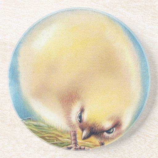 Fluffed encima del vintage Pascua del polluelo y d Posavaso Para Bebida