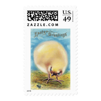 Fluffed Up Chick and Fly Vintage Easter Stamps