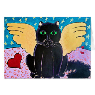 Fluffy Angel Cat Card