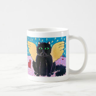 Fluffy Angel Cat Classic White Coffee Mug