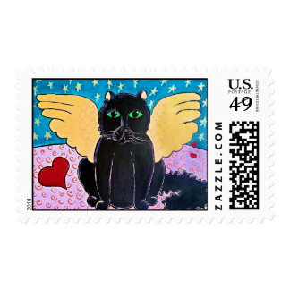 Fluffy Angel Cat Postage Stamp
