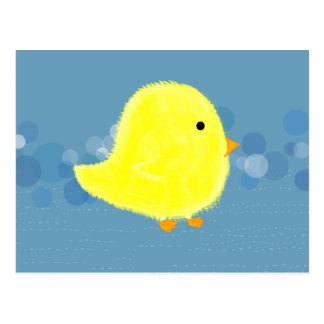 Fluffy Baby Chick With Blue Bubbles Postcard