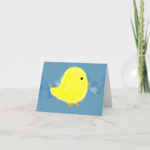 Fluffy Baby Chick With Blue Note Card