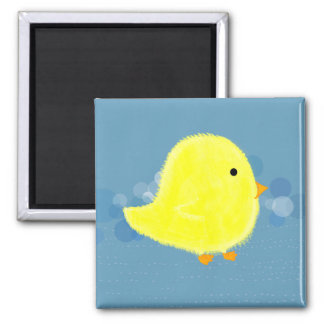 Fluffy Baby Chick With Blue Square Magnet