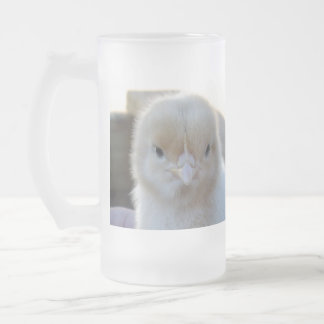 Fluffy_Baby_Chicken, _Big_Frosted_Beer_Mug. Taza De Cristal