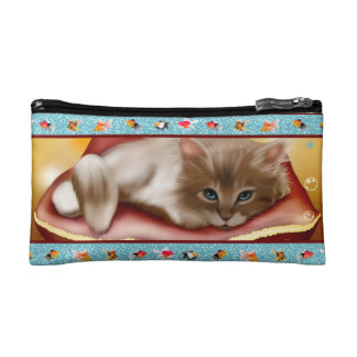 Fluffy baby Kitten on pillow day dreaming of fish Cosmetic Bag