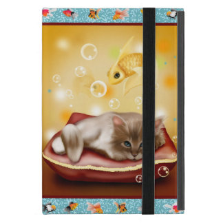 Fluffy baby Kitten on pillow day dreaming of fish Case For iPad Mini