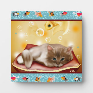 Fluffy baby Kitten on pillow day dreaming of fish Plaque