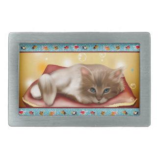 Fluffy baby Kitten on pillow day dreaming of fish Rectangular Belt Buckle